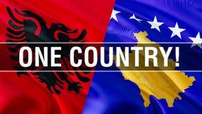 Um país em bandeiras de Albânia e de Kosovo Projeto de ondulação da bandeira, rendição 3D Bandeira de Albânia Kosovo, imagem, pap ilustração royalty free