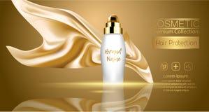 Um pacote realístico do cosmético do molde projeto do bloco do produto dos cosméticos da proteção do cabelo Textil de seda realís Imagem de Stock Royalty Free