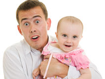 Um pai novo com um bebê Imagens de Stock