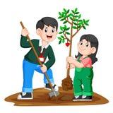 Um pai novo e sua filha que plantam uma árvore ilustração stock