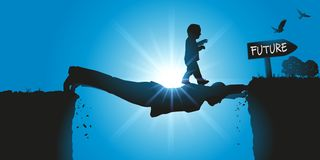 Um pai suspendido acima do v?cuo, ajuda sua crian?a a cruzar uma falha para juntar-se a um futuro melhor ilustração stock