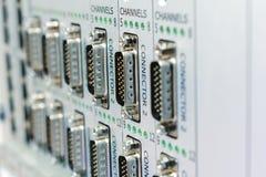 Um painel com muitos conectores do multi-pino fotos de stock royalty free