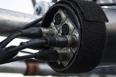 Um painel de conectores da tomada de XLR O conector de XLR é um estilo do conector bonde, encontrou primeiramente no áudio profis imagens de stock royalty free