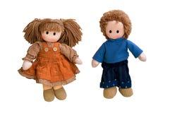 Um pano dos pares, bonecas da tela fotografia de stock