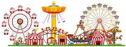 Um panorama da feira de divertimento ilustração stock