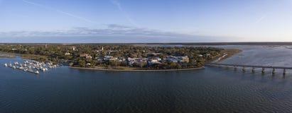 um panorama de 180 graus de Beaufort, South Carolina Fotos de Stock