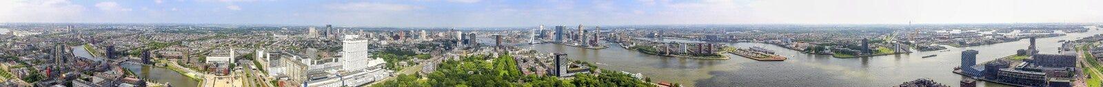 um panorama de 360 graus tomado do Euromast do Rotterdam fotografia de stock