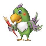 Um papagaio verde engraçado espalhou suas asas e guardou uma pena vermelha FO ilustração do vetor