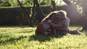 Um par alegre novo que abraça seu cão desgrenhado no parque no dia de verão vídeos de arquivo