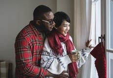 Um par alegre que aprecia o feriado do Natal foto de stock royalty free