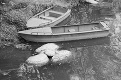 Um par barco de madeira no lago Fotos de Stock Royalty Free
