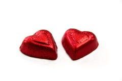 Um par corações vermelhos Fotografia de Stock