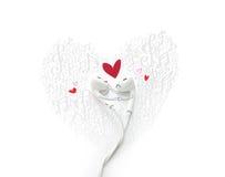 Um par da dança cai no amor com pintado, conceito bonito do fone de ouvido imagens de stock royalty free