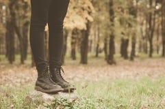 Um par das botas de couro na floresta Foto de Stock