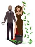 Um par de amantes em um branco com uma caixa do dinheiro ilustração do vetor