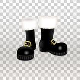 Um par de botas altas do preto de Santa Claus Christmas Ícone realístico da ilustração do vetor isolado no fundo transparente ilustração stock