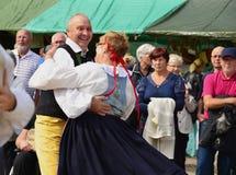 Um par de dacers no traje popular tradicional Imagem de Stock Royalty Free