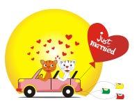 Um par de gatos recentemente casados no carro Fotografia de Stock