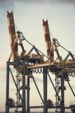 Um par de guindastes do porto Imagem de Stock Royalty Free