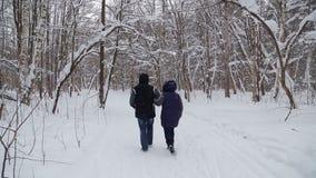 Um par de homem e de mulher que andam através do parque do inverno na neve para as mãos vídeos de arquivo
