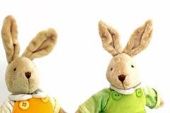 Um par de lebres macias do brinquedo bonito imagem de stock