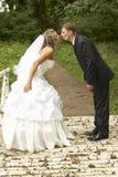 Um par em seu dia do casamento fotos de stock