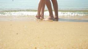 Um par está andando ao longo da praia em um dia ensolarado claro Guardam as m?os e o beijo os pés do passeio dos homens e das mul vídeos de arquivo