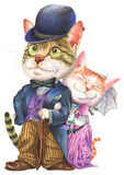 Um par gatos na forma retro Foto de Stock