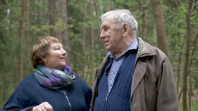 Um par idoso bonito que fala no parque para uma caminhada Comunicam-se, riem-se, abraçam-se Relacionamento excelente, a idade vídeos de arquivo
