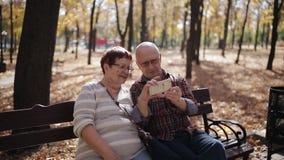 Um par idoso no parque do outono que senta-se no banco que toma selfies em um smartphone vídeos de arquivo