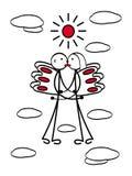 Um par loving com asas em voo entre as nuvens Homem e mulher, menino e menina ilustração stock