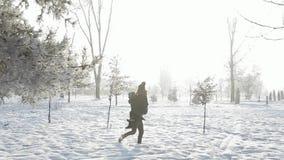 Um par loving em jogos do tempo do inverno do conto de fadas aumenta rapidamente video estoque