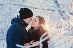 Um par loving em uma caminhada do inverno História de amor da neve, mágica do inverno Homem e mulher na rua gelado O indivíduo e  Fotografia de Stock Royalty Free