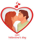 Um par no amor, beijo romântico no fundo bonito com forma do coração Fotos de Stock