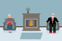 Um par pessoas adultas estão sentando-se pela chaminé em uma sala de visitas azul acolhedor bonita ilustração royalty free