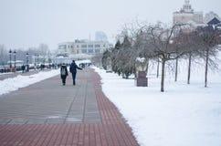 Um par que anda ao longo da margem no inverno imagem de stock