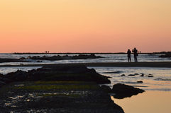 Um par que fotografa o espetáculo natural do por do sol Imagens de Stock Royalty Free