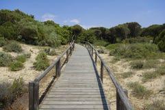 Um passeio ? beira mar de madeira atrav?s das dunas que conduzem ? praia do EL Portil, Huelva, a Andaluzia, Espanha fotos de stock
