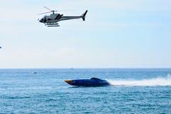 Um película do helicóptero da tevê Fotografia de Stock Royalty Free