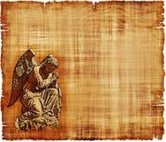 Anjo no pergaminho da oração ilustração stock