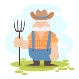 Um personagem de banda desenhada engraçado do fazendeiro Fotografia de Stock