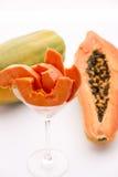 Um petisco suculento suculento - o fruto do Pawpaw Imagem de Stock