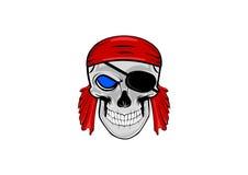 Um pirata humano da cabeça do crânio ilustração royalty free