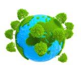 Um planeta com crescimento das árvores Fotos de Stock