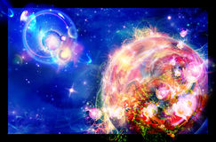 Um planeta está nas flores ilustração royalty free