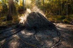 Um poço de carvão genuíno onde o carvão vegetal esteja sendo feito foto de stock royalty free
