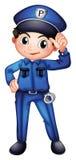 Um polícia com um uniforme completo Fotografia de Stock