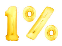 Um por cento dourado feito de balões infláveis Fotos de Stock Royalty Free