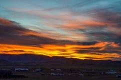 Um por do sol bonito de Wyoming na ação de graças Imagens de Stock Royalty Free