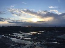 Um por do sol bonito na Holanda Fotos de Stock